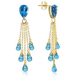 ALARRI 15.5 Carat 14K Solid Gold Playful Blue Topaz Earrings