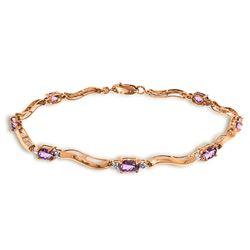 ALARRI 14K Solid Rose Gold Tennis Bracelet w/ Diamonds & Amethyst