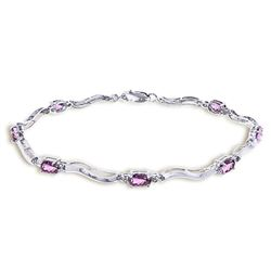 ALARRI 14K Solid White Gold Tennis Bracelet w/ Diamonds & Amethyst