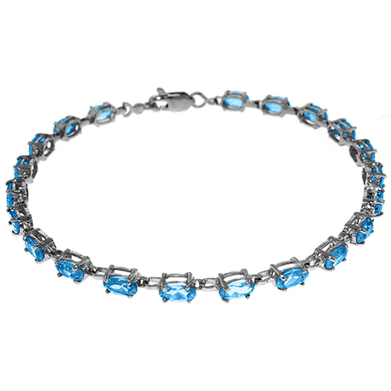 Alarri 5 Ctw 14k Solid White Gold Tennis Bracelet Blue Topaz