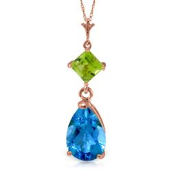 ALARRI 2 Carat 14K Solid Rose Gold Necklace Blue Topaz Peridot