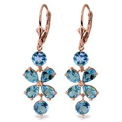 ALARRI 5.32 CTW 14K Solid Rose Gold Chandelier Earrings Natural Blue Topaz