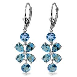 ALARRI 5.32 Carat 14K Solid White Gold Chandelier Earrings Natural Blue Topaz