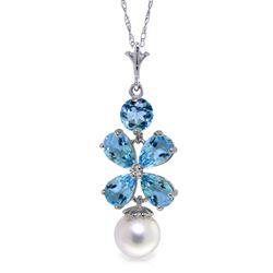 ALARRI 3.65 Carat 14K Solid White Gold Piece Of Sky Blue Topaz Pearl Necklace