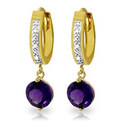 ALARRI 2.63 Carat 14K Solid Gold Organza Amethyst Diamond Earrings