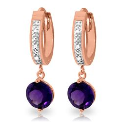ALARRI 2.63 Carat 14K Solid Rose Gold Diamond Round Amethyst Drop Hoops