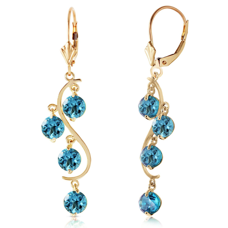 ALARRI 14K. Gold Chandeliers Earring with Blue Topaz