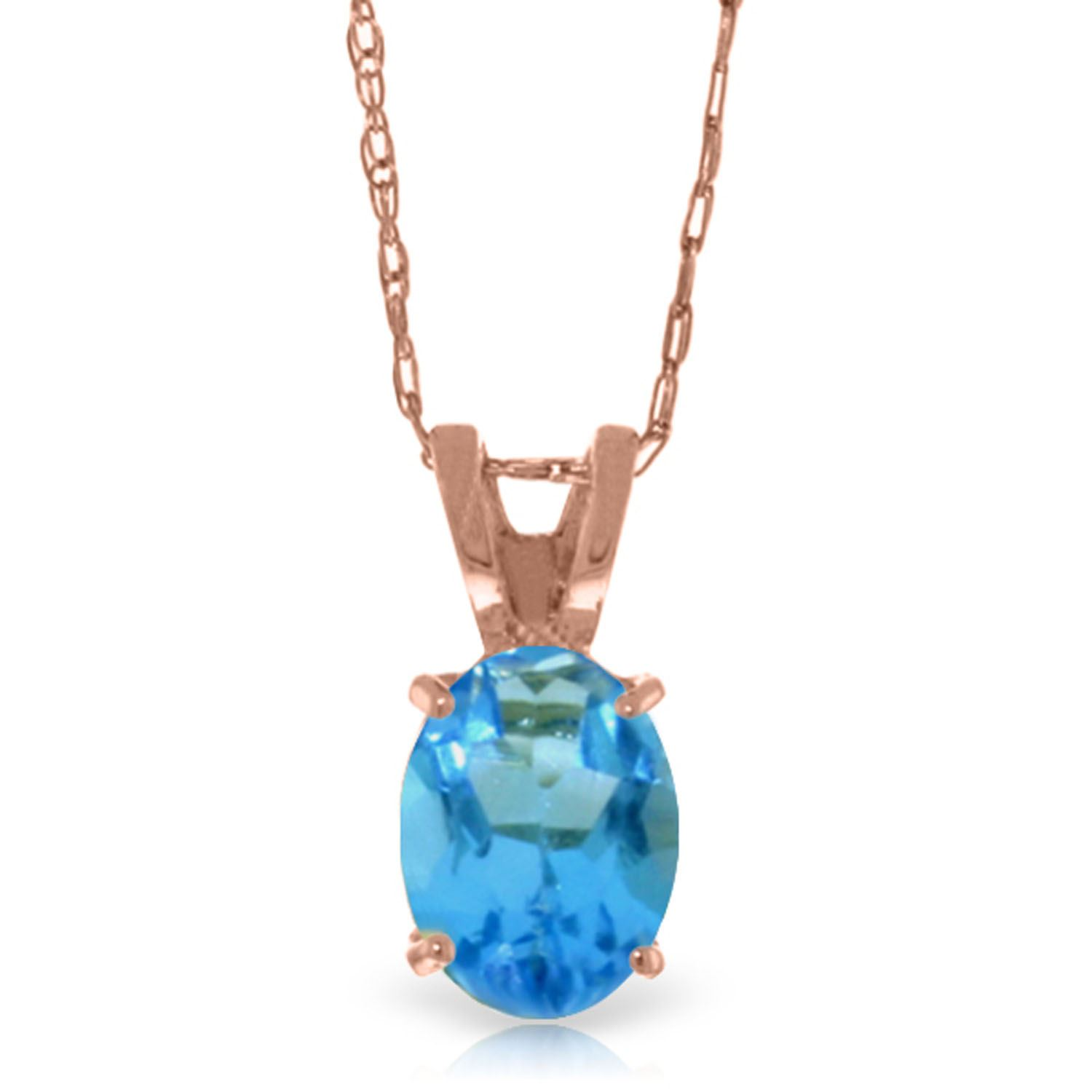 ALARRI 0.85 Carat 14K Solid Rose Gold Solitaire Citrine Necklace with 22 Inch Chain Length