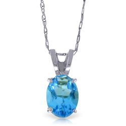 ALARRI 0.85 Carat 14K Solid White Gold Life At Forty Blue Topaz Necklace