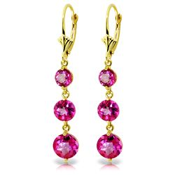 ALARRI 7.2 Carat 14K Solid Gold Chandelier Earrings Pink Topaz