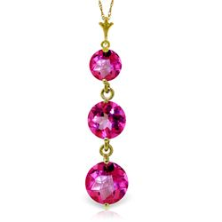 ALARRI 3.6 Carat 14K Solid Gold Necklace Natural Pink Topaz