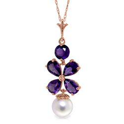 ALARRI 14K Solid Rose Gold Necklace w/ Purple Amethyst & Pearl