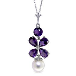 ALARRI 3.65 Carat 14K Solid White Gold Fleurs Rustique Amethyst Pearl Necklace