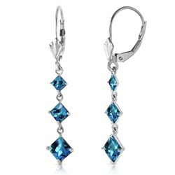 ALARRI 4.79 Carat 14K Solid White Gold For No Reason Blue Topaz Earrings