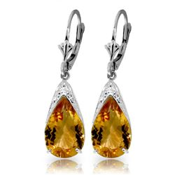 ALARRI 10 Carat 14K Solid White Gold Leverback Earrings Natural Citrine