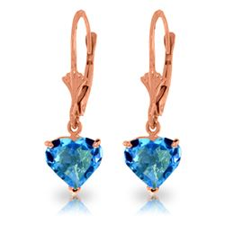 ALARRI 3.25 CTW 14K Solid Rose Gold Leverback Earrings Natural Blue Topaz