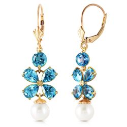 ALARRI 6.28 Carat 14K Solid Gold Chandelier Earrings Blue Topaz Pearl