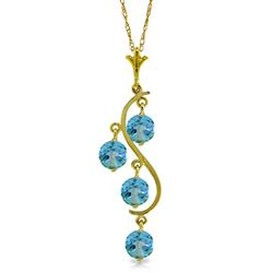 ALARRI 2.25 Carat 14K Solid Gold Echoes Blue Topaz Necklace