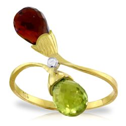 ALARRI 2.52 Carat 14K Solid Gold Ring Diamond Briolette Garnet, Citrine