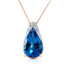 ALARRI 6 Carat 14K Solid Rose Gold Ocean Blue Topaz Necklace