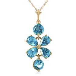 ALARRI 3.15 Carat 14K Solid Gold Passione Blue Topaz Necklace