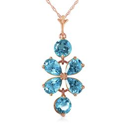 ALARRI 3.15 Carat 14K Solid Rose Gold Petals Blue Topaz Necklace