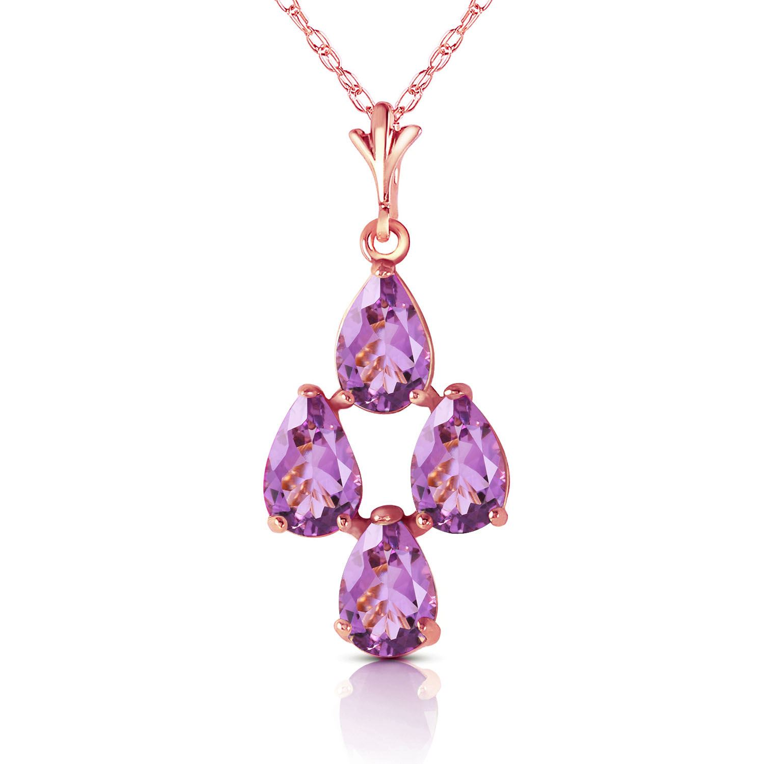 Alarri 3 Carat 14k Solid Rose Gold Pear Amethyst Leverback Earrings