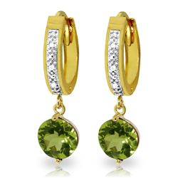 ALARRI 2.63 CTW 14K Solid Gold Hoop Earrings Diamond Peridot