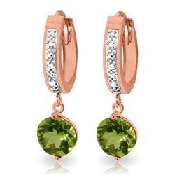 ALARRI 2.63 Carat 14K Solid Rose Gold Hoop Earrings Diamond Peridot