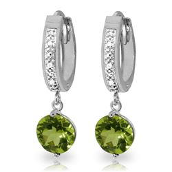 ALARRI 2.63 Carat 14K Solid White Gold Hoop Earrings Diamond Peridot