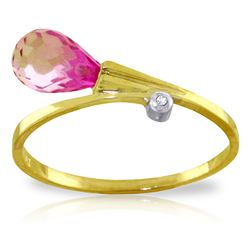 ALARRI 1.26 CTW 14K Solid Gold Fancy Etchings Pink Topaz Diamond Ring