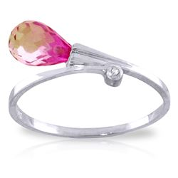 ALARRI 1.26 Carat 14K Solid White Gold I'll Be There Pink Topaz Diamond Ring
