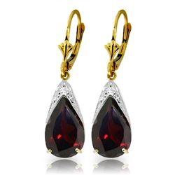 ALARRI 1.38 Carat 14K Solid Gold Fish Hook Earrings Diamond Garnet