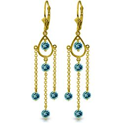 ALARRI 3 Carat 14K Solid Gold Gilded Age Blue Topaz Earrings