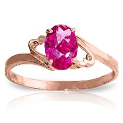 ALARRI 1 Carat 14K Solid Rose Gold Ring Natural Pink Topaz