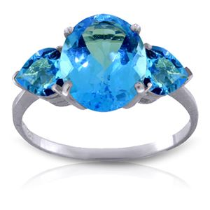 ALARRI 4.2 Carat 14K Solid White Gold You'll See Blue Topaz Ring