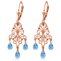 ALARRI 3.75 Carat 14K Solid Rose Gold Chandelier Earrings Natural Blue Topaz