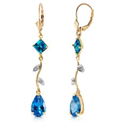 ALARRI 3.97 Carat 14K Solid Gold Chandelier Earrings Natural Diamond Blue Topaz