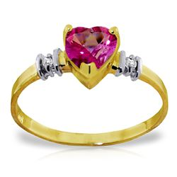 ALARRI 0.98 Carat 14K Solid Gold Ring Natural Pink Topaz Diamond