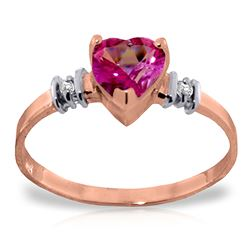 ALARRI 14K Solid Rose Gold Ring w/ Natural Pink Topaz & Diamond