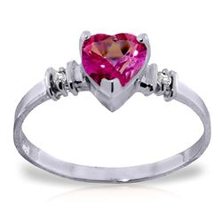 ALARRI 0.98 CTW 14K Solid White Gold Ring Natural Pink Topaz Diamond
