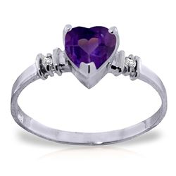 ALARRI 0.98 CTW 14K Solid White Gold Ring Natural Purple Amethyst Diamond