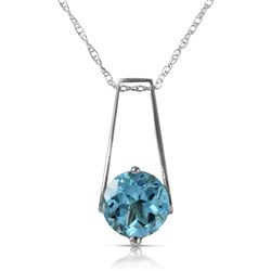 ALARRI 1.45 Carat 14K Solid White Gold Make Your Day Blue Topaz Necklace