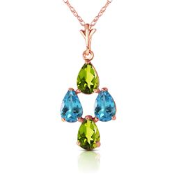 ALARRI 1.5 Carat 14K Solid Rose Gold Necklace Natural Blue Topaz Peridot