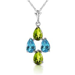 ALARRI 1.5 CTW 14K Solid White Gold Necklace Natural Blue Topaz Peridot