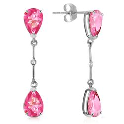 ALARRI 7.01 CTW 14K Solid White Gold Diamond Pink Topaz Dangling Earrings