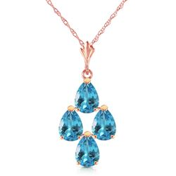 ALARRI 1.5 CTW 14K Solid Rose Gold Pyramid Blue Topaz Necklace