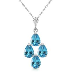 ALARRI 1.5 Carat 14K Solid White Gold Good Beginnings Blue Topaz Necklace
