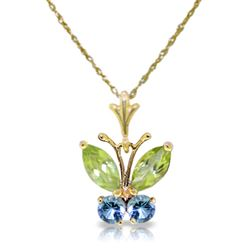 ALARRI 0.6 Carat 14K Solid Gold Butterfly Necklace Blue Topaz Peridot