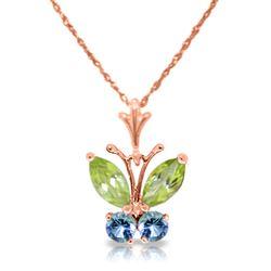 ALARRI 3.9 Carat 14K Solid White Gold Please Nod Blue Topaz Peridot Necklace